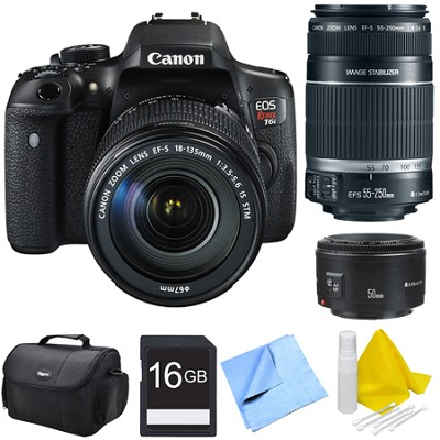 EOS Rebel T6i Digital SLR Camera with 18-135mm STM, 55-250mm, 50mm Lens Bundle