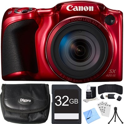 PowerShot SX420 IS 20MP Red Digital Camera + 42x Optical Zoom 32GB Card Bundle