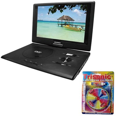 13.3` Swivel Screen Port DVD Player w/ USB/SD Card Reader w/Lens Cleaning Bundle