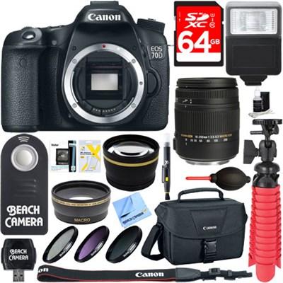 EOS 70D 20.2 MP Digital SLR Camera Body + Sigma 18-250mm Lens Memory & Flash Kit
