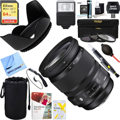 24-105mm F/4 DG HSM A-Mount ART Lens for Sony SLR + 64GB Ultimate Kit