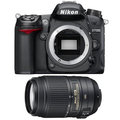 D7000 16.2 MP DX-format DSLR Camera with 55-300mm Zoom Lens Refurbished Bundle