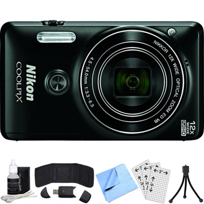 COOLPIX S6900 16MP Digital Camera w/ 12X Zoom (Black) Refurbished Bundle