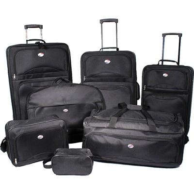 7 Piece Ultra Lightweight Deluxe Luggage Set - Black