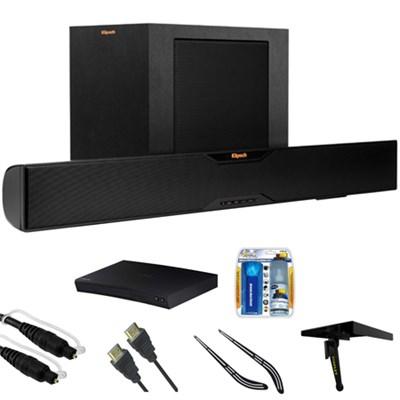 Bluetooth Soundbar With Wireless Subwoofer R-10B w/ Blu-ray Player Bundle