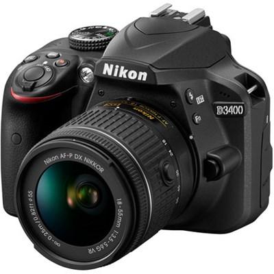 D3400 24.2 MP DSLR Camera w/ AF-P DX 18-55mm VR Lens Kit (Black)