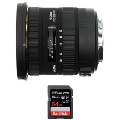 10-20mm F3.5 EX DC HSM Lens for Canon EOS + Sandisk 64GB Memory Card