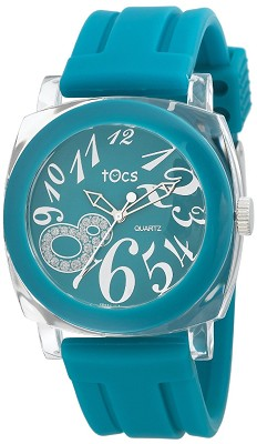 `Crystal 8` Analog Round Watch Turquoise/Clear - 40116