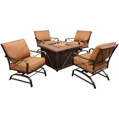 Summer Nights 5pc Fire Pit (4 cushion rockers 40  square fire pit)