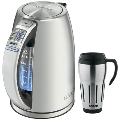 PerfectTemp Cordless Electric Kettle, Brushed Stainless Steel w/ Travel Mug