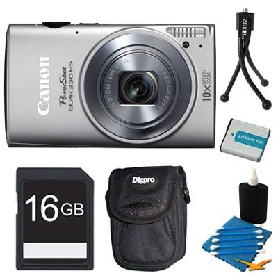 Powershot ELPH 330 HS Silver Digital Camera 16GB Bundle