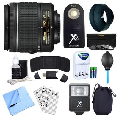 AF-P DX NIKKOR 18-55mm f/3.5-5.6G VR Lens, Remote, and Accessories Bundle
