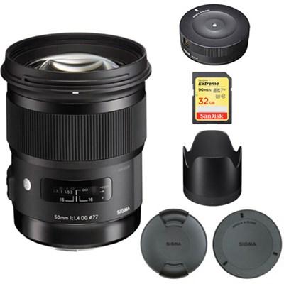50mm f/1.4 DG HSM Lens for Canon EF Cameras - 311101 with USB Dock Bundle