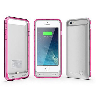 ArmorLite iPhone 6 Battery Charger Hard Case 2400 mAh - Silver/Pink
