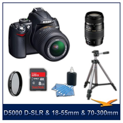 D5000 DX-Format Digital SLR Outfit w/ 18-55mm VR and Tamron 70-300 Zoom Lenses
