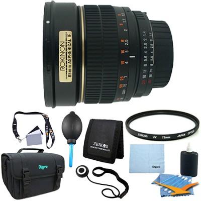 85mm f/1.4 Aspherical Lens for Nikon DSLR Cameras - Lens Kit Bundle