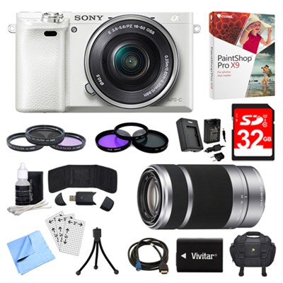 Alpha a6000 White Camera with 16-50mm, 55-210mm Lenses and Accessories Bundle