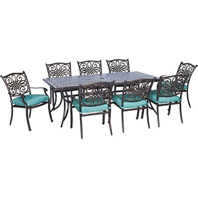 Traditions 9-Piece Dining Set in Ocean Blue - TRADDN9PC-BLU