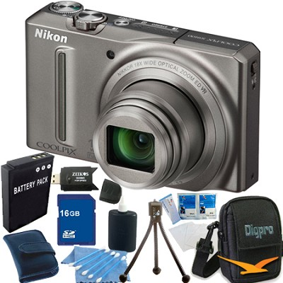 COOLPIX S9100 12MP Silver Digital Camera 16GB Bundle