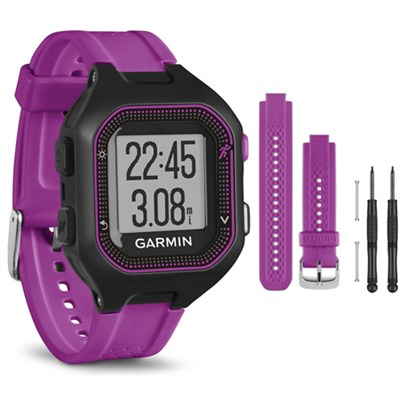 Forerunner 25 GPS Fitness Watch - Small - Black/Purple - Purple Band Bundle