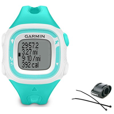 Forerunner 15 Heart Rate Monitor Bundle Small - Teal/White + Bike Mount Kit