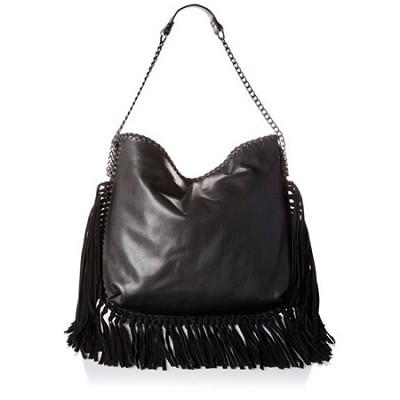 BMADLY Hobo Shoulder Bag with Suede Hanging Fringe (Black)