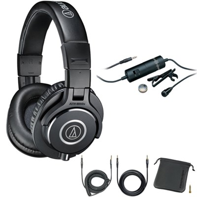 Professional Studio Monitor Wired Headphone Black - ATHM40X with Microphone