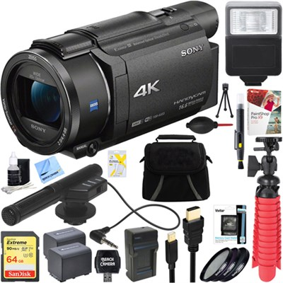 FDR-AX53/B 4K Handycam Camcorder with Mini Zoom Microphone + 64GB Bundle