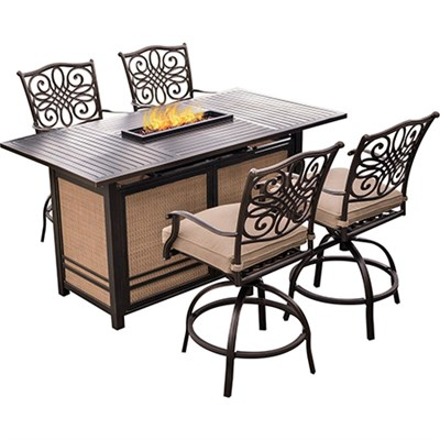 Traditions 5-Piece High-Dining Bar Set in Tan - TRAD5PCFPBR