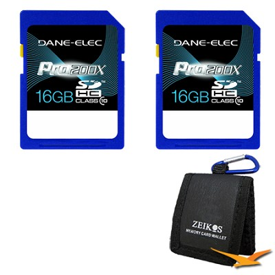 16 GB Secure Digital High Capacity (SDHC) Memory Card Class 10 2-Pack Bundle
