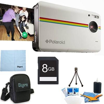 Z2300 10MP 2x3` Instant Digital Camera with ZINK Zero Ink (White) 8GB Bundle