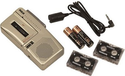 RP3538 Micro Cassette Voice Recorder with contoured design and one button record