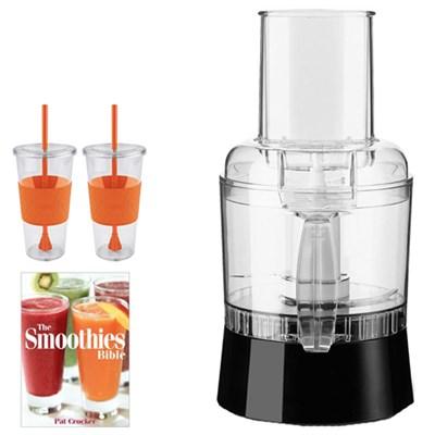 SmartPower Duet Blender & Food Processor Glass Jar Chrome w/ Tugo Mug Bundle