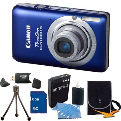 PowerShot ELPH 100 HS Blue Digital Camera 8GB Bundle