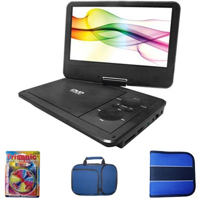 10` Port DVD Player w/ 5 Hr Battery Life SDVD1030 w/Case & Cleaning Kit