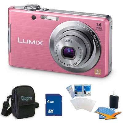 Lumix DMC-FH2 14MP Pink Digital Camera w/ 720p 30 fps HD Video 4GB Bundle