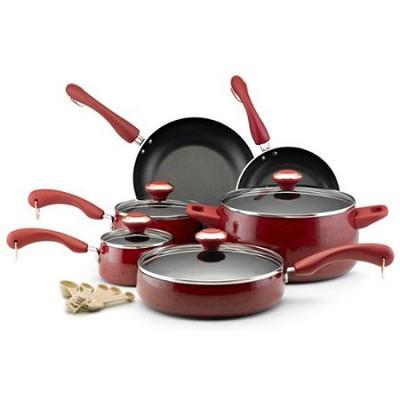 Signature Nonstick 15-Piece Porcelain Cookware Set - Red
