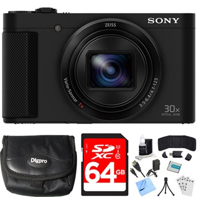 Cyber-shot HX80 Compact Digital Camera (Black) 64GB Memory Card Bundle