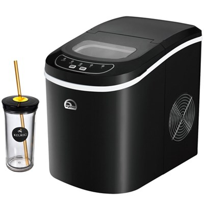 Compact Ice Maker Black with Keurig Iced Beverage Tumbler