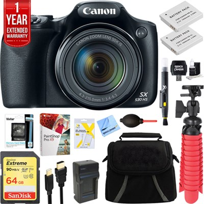 PowerShot SX530 HS 16.0MP Digital Camera (Black) + Spare Battery & Accessory Kit