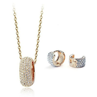 Austria Crystal 18k Gold Plated, Gold Diamond Necklace and Earrings Set