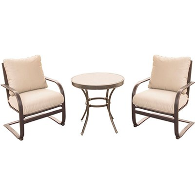 Summer Nights 3PC Dining Set: 2 Aluminum Spring Chrs with 30  Glass Tbl