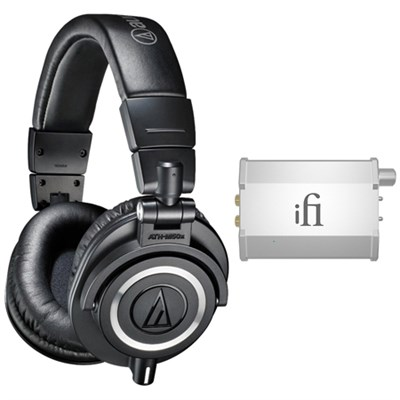 Professional Studio Headphones Black ATH-M50x w/ iFi Audio Port. Headphone Amp.