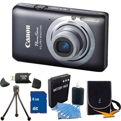 PowerShot ELPH 100 HS Grey Digital Camera 8GB Bundle