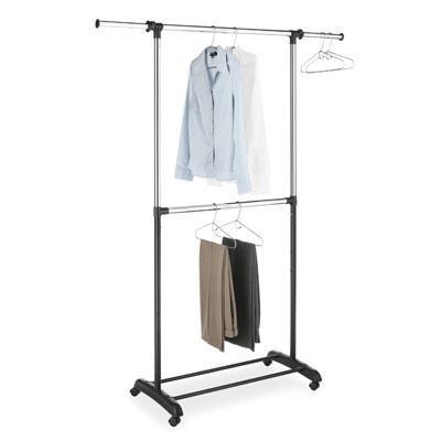 Adjustable 2-Rod Garment Rack in Ebony Chrome - 6021-3081