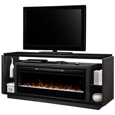 David Electric Fireplace - Glass Ember Bed, Smoke Finish