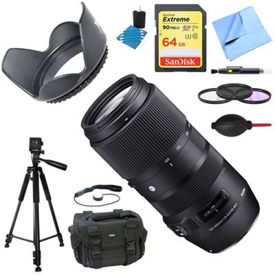 100-400mm F5-6.3 DG OS HSM Telephoto Lens (Canon) Deluxe Accessory Bundle