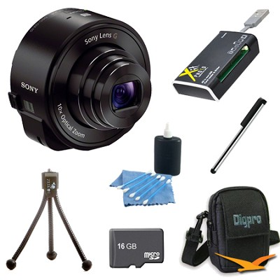 DSC-QX10/B Smartphone attachable lens-style camera (Black) 16GB Bundle