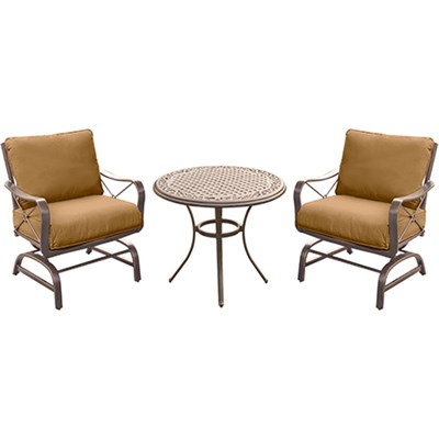 Summer Nights 3PC Dining Set: 2 Steel Rockers with 30  Cast Table