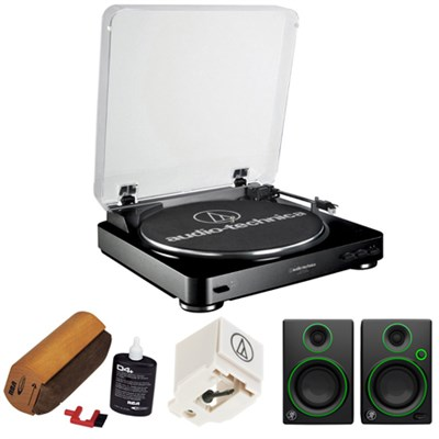 Fully Automatic Stereo Turntable System- Black w/ Multimedia Monitors Bundle